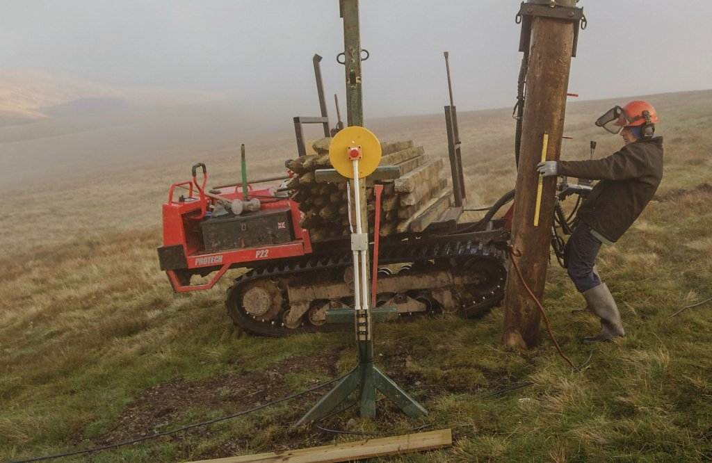 A telegraph pole on its way into Lowther Hill