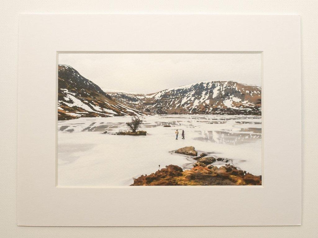 Walkers on Loch Skeen ice