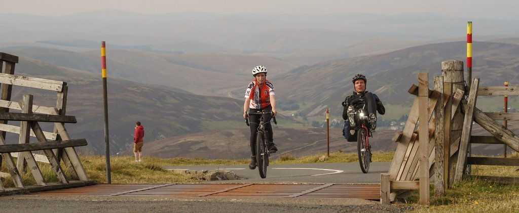 Cycle race finish on Lowther Hill summit